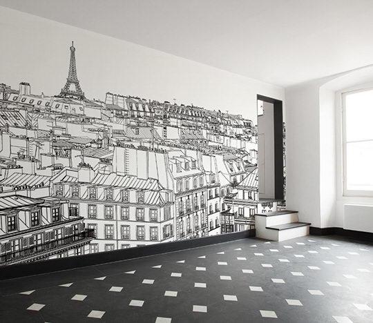 有景深效果的全景墙纸也是不错的选择