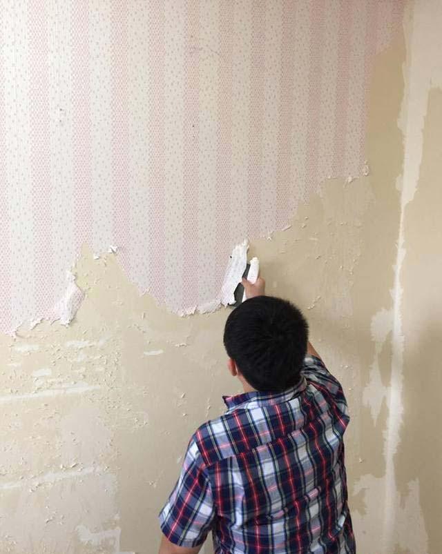 网友称要把旧撕墙纸真的很麻烦
