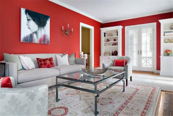 红色系墙纸装修