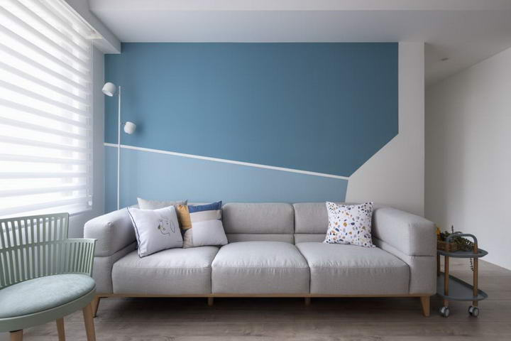 【装修案例】灰蓝色墙纸+木色,新房装修伴孩子快乐长大