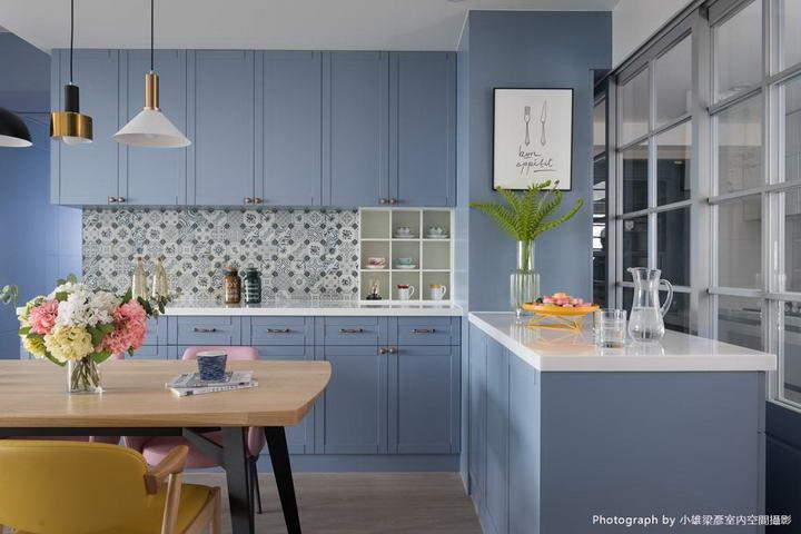 【墙纸装修案例】灰蓝粉蓝墙布集合,营造层次百出的英式蓝调插图(7)