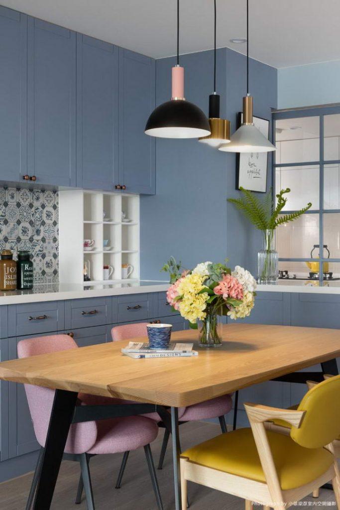 【墙纸装修案例】灰蓝粉蓝墙布集合,营造层次百出的英式蓝调插图(8)