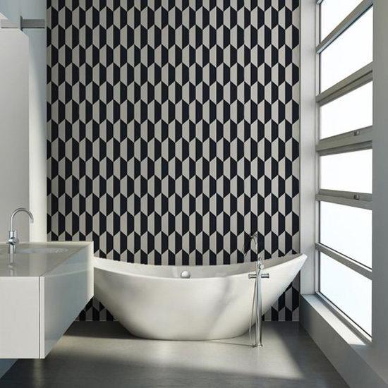 在一间浴室的几何壁纸