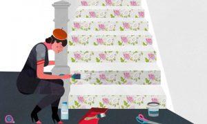 如何用墙纸美化楼梯?教你在楼梯上贴墙纸插图