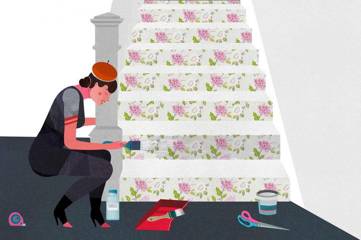 如何用墙纸美化楼梯?教你在楼梯上贴墙纸