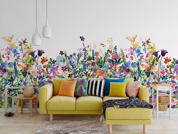 五颜六色的花花草草墙纸