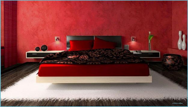 红色卧室墙纸