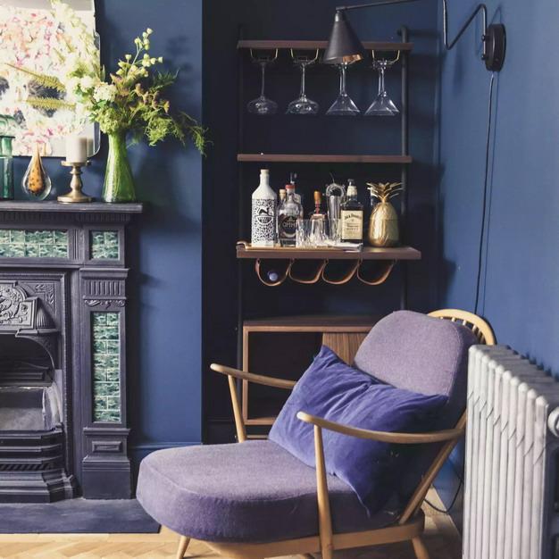 藏青色墙纸+紫色