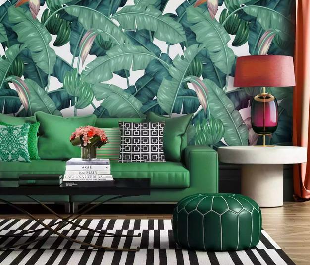 香蕉叶营造热带背景墙纸