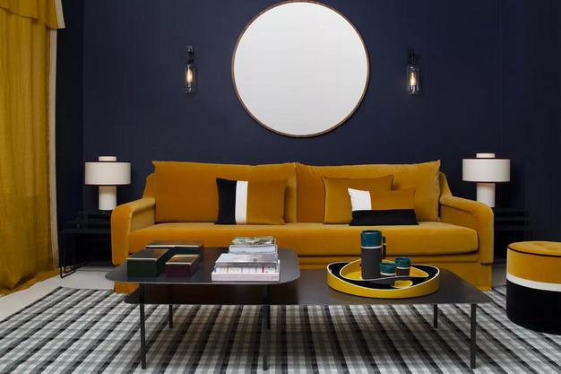 藏青色墙纸+赭色