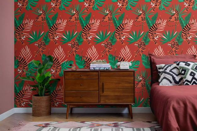 野生老虎热带树叶墙纸