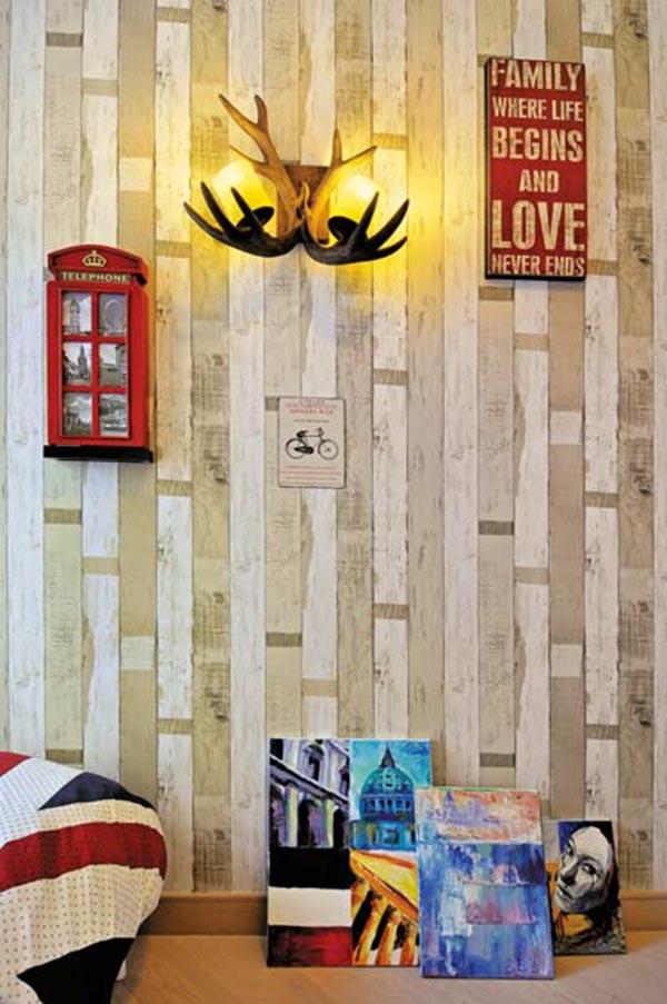 ▲仿饰墙纸让墙面变化更多元:贴上仿石材、木皮、布料⋯等材质的墙纸,更能突出墙上或靠墙的装饰物的特点,也让人一看便知空间想表达的精神。(图片来源/ Fancy Design)
