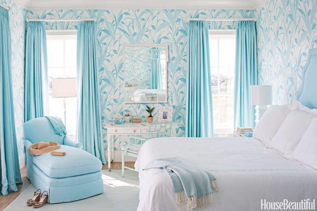 蓝色卧室墙纸