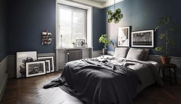 藏青色墙纸+灰色