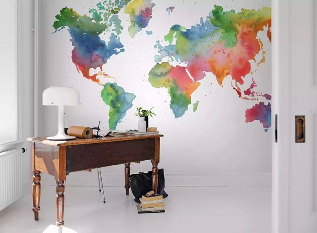 彩色水墨画世界地图墙纸