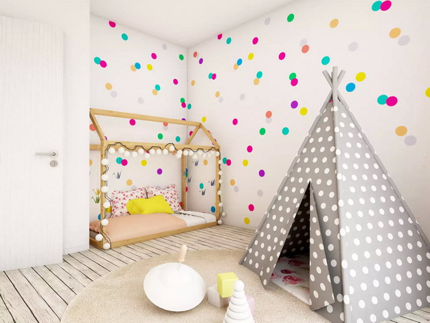 带有圆点的快乐儿童房