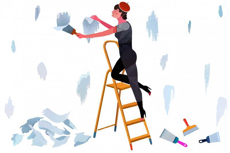 用刮刀清除墙纸碎片